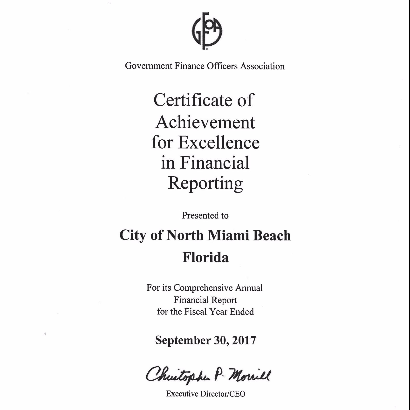 Certificate of Achievement for Excellence in Financial Reporting presented to City North Miami Beach
