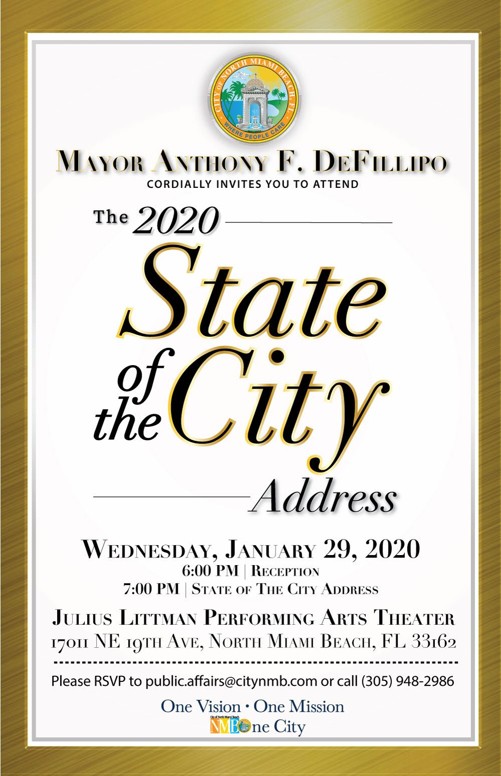 Mayor Anthony F. DeFillipo 2020 State of the City Address